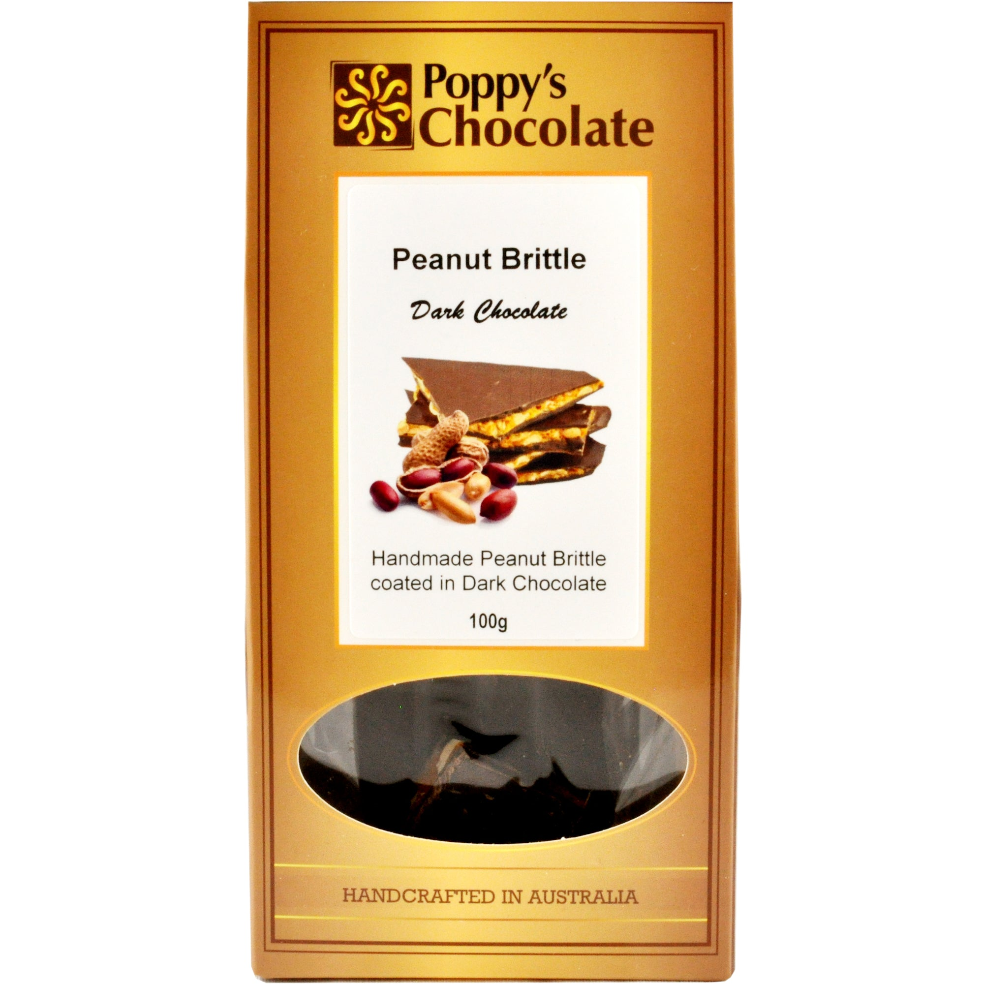 Peanut Brittle coated in Dark Chocolate 100g