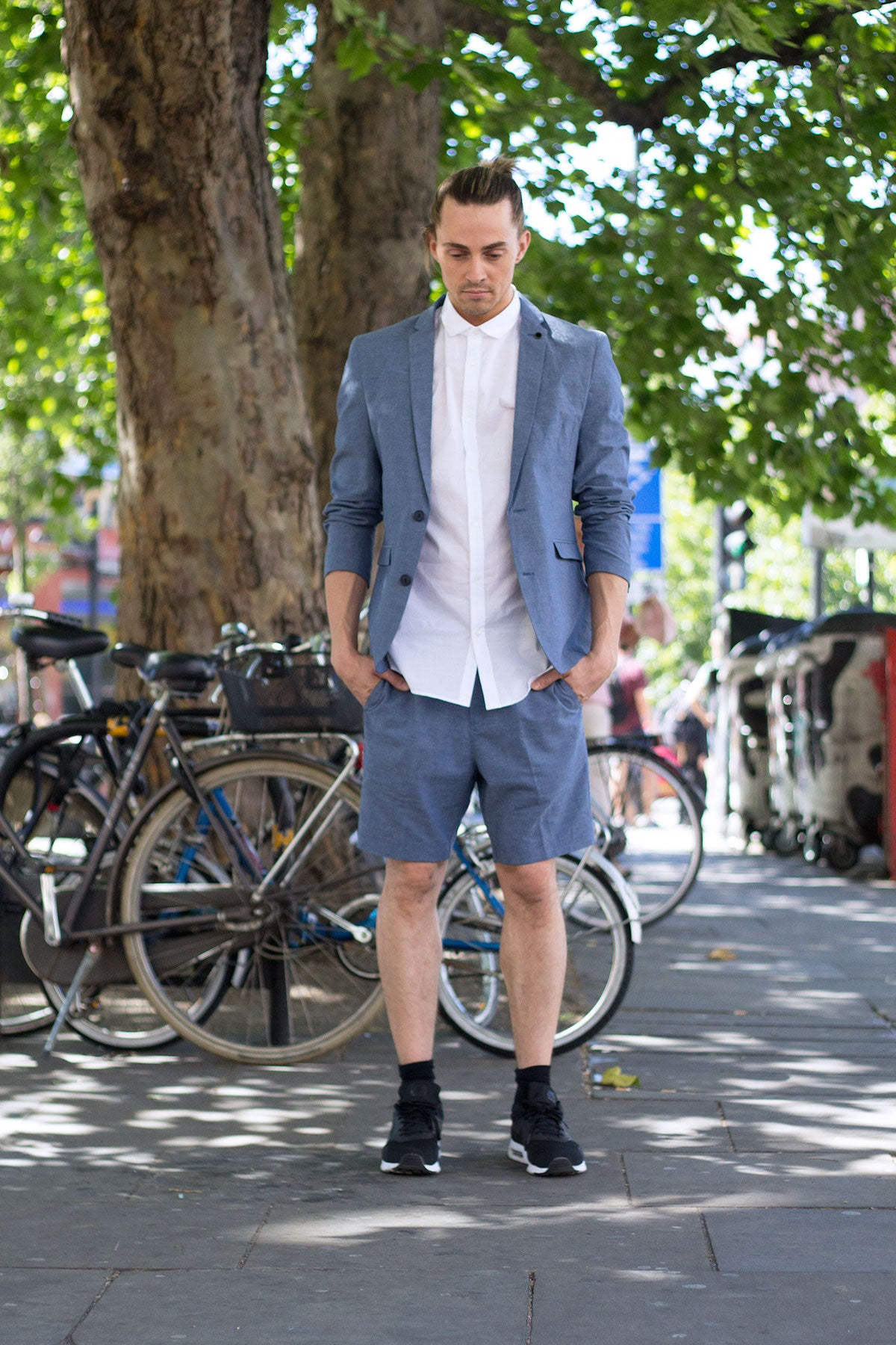 Street Style London Summer Tailoring Blue Short Suit