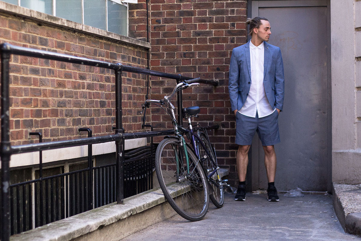 Shoreditch Street Style Menswear Shorts Suit and Trainers