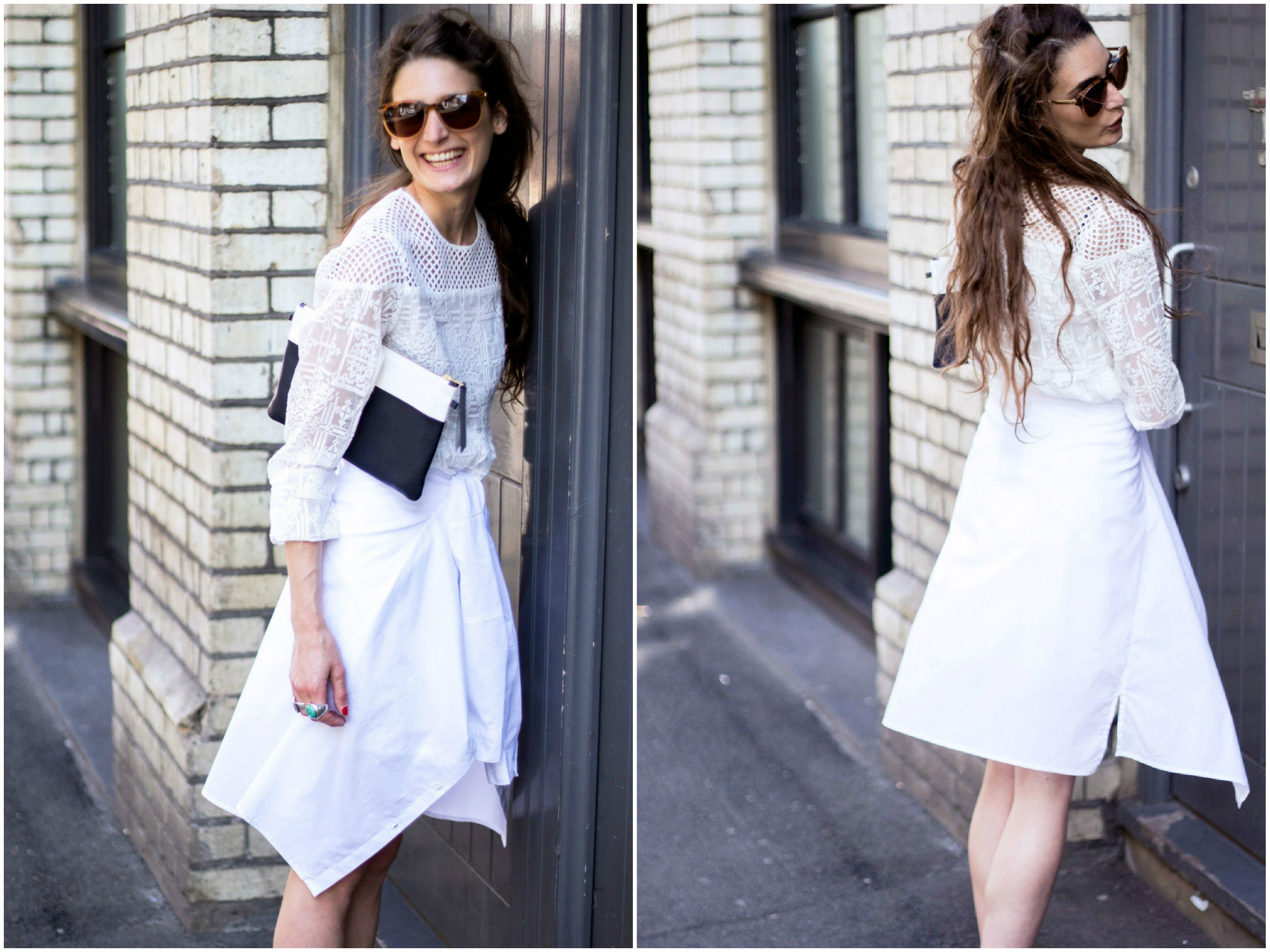 White Shirt Lace Dress Street Style