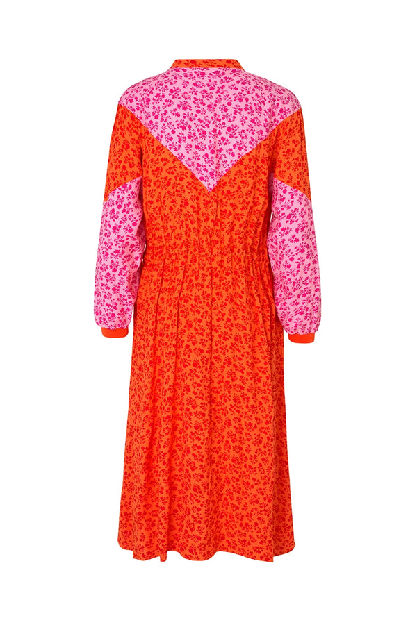 MADS NORGAARD CORAL PINK PRINTED FLOWER JAM DRIPLA DRESS