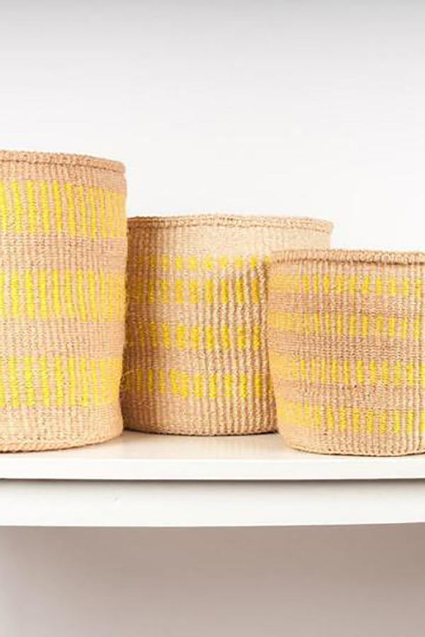 THE BASKET ROOM NATURAL YELLOW NJANO WOVEN STORAGE BASKET XS