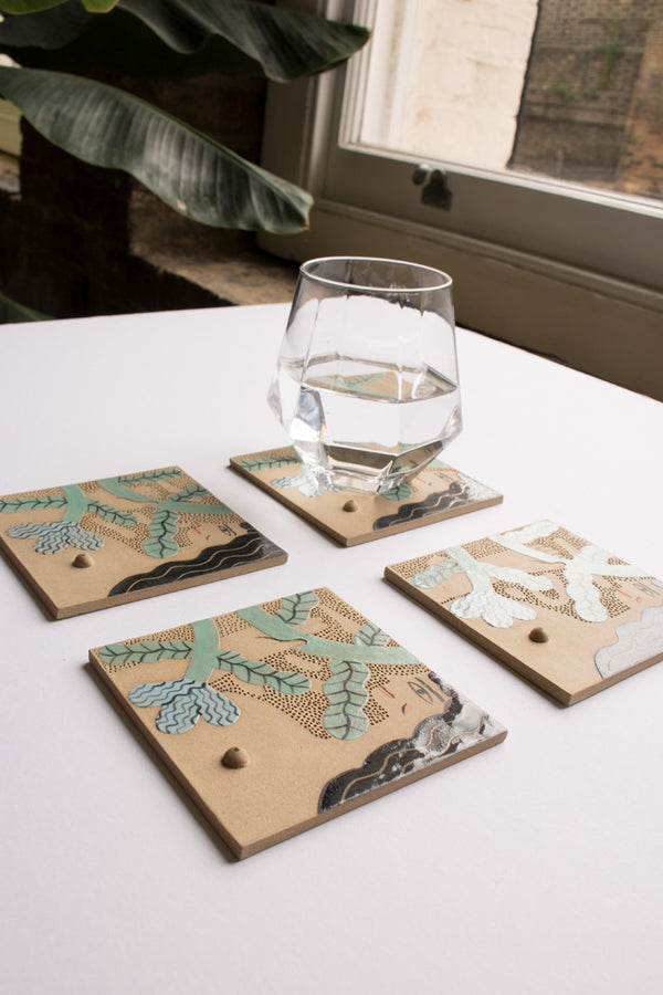 Green Ceramic Coaster
