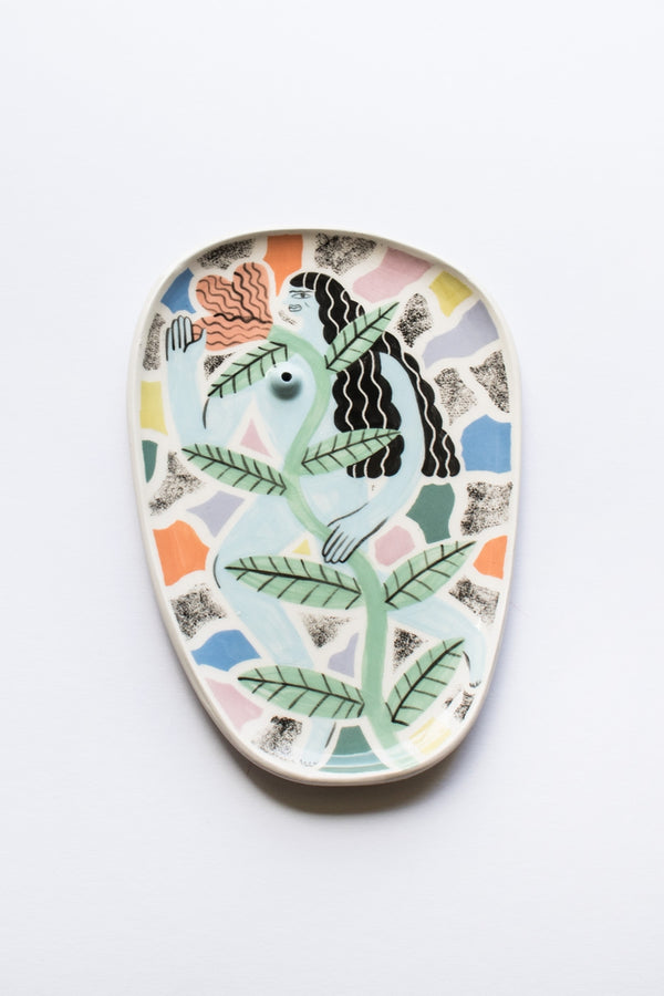 Laura Bird Blue Incense Holder Plate