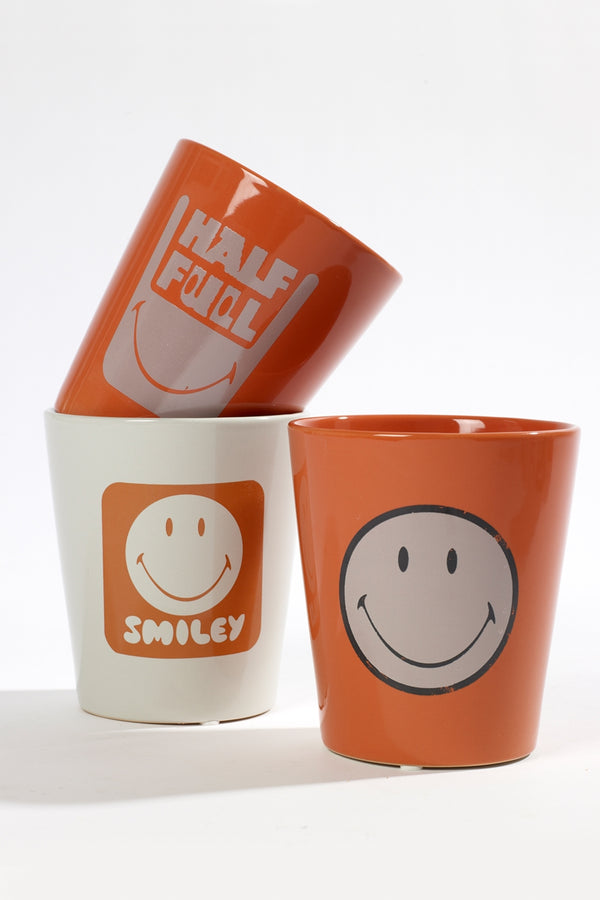 SERAX ORANGE HALF FULL SMILEY SMALL POT