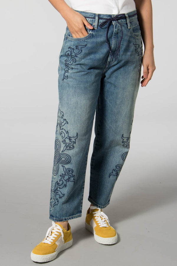 Levis Made and Crafted Blue Soutache Barrel Jeans