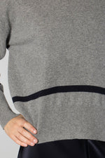 Libertine-Libertine Grey Melange/Dark Navy Husky Knit Jumper
