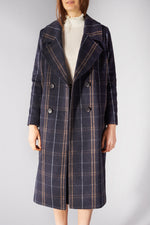 LIBERTINE LIBERTINE NAVY CHECK RACER COAT