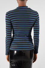 MADS NORGAARD NAVY STRIPE 5X5 LUREX TOP