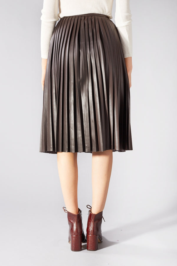 SAMSOE O SAMSOE BROWN FAUX LEATHER ZAHA PLEATED SKIRT