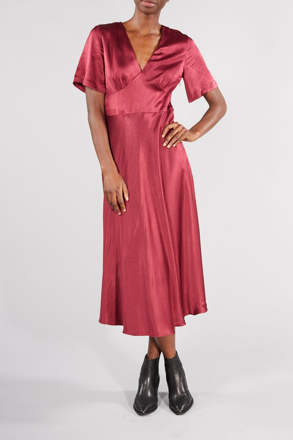 SAMSOE O SAMSOE RED CINDY MIDI DRESS