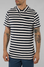 The GoodPeople Off White/Navy Video Polo Shirt