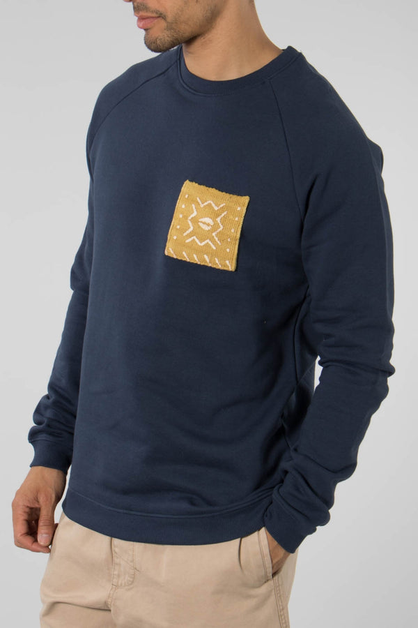 Origin Navy Sweatshirt W/Yellow Mud Cloth