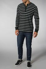 Levis Made and Crafted Black Spur Henley Stripe