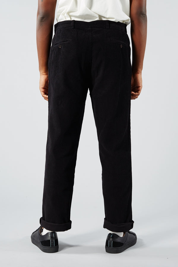 PORTUGUESE FLANNEL BLACK CORDUROY TROUSERS