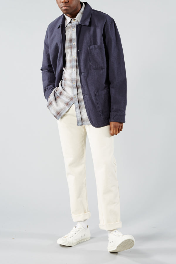 PORTUGUESE FLANNEL GREY CHECK RUDE SHIRT