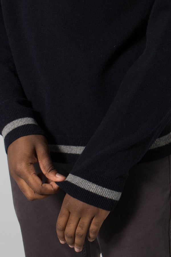 Libertine-Libertine Navy and Grey Melange Volcano Rollneck Jumper