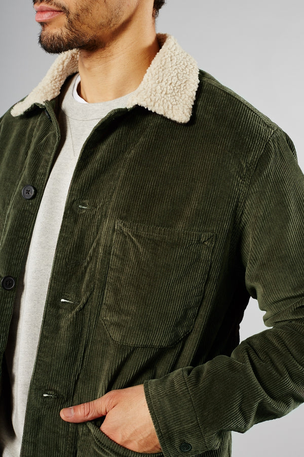 SELECTED HOMME BLACK/GREEN INK JACKSON CORDUROY TEDDY JACKET