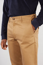 SELECTED HOMME ERMINE TAN SLIM TAPERED TWILL TROUSER