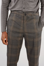 SELECTED HOMME GREY CHECK SLIM TAPERED CODE TROUSER