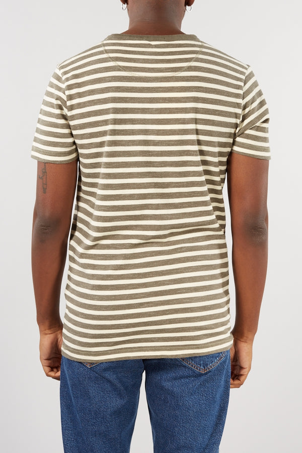 SELECTED HOMME GREEN NEPP STRIPE BJORN O-NECK TEE
