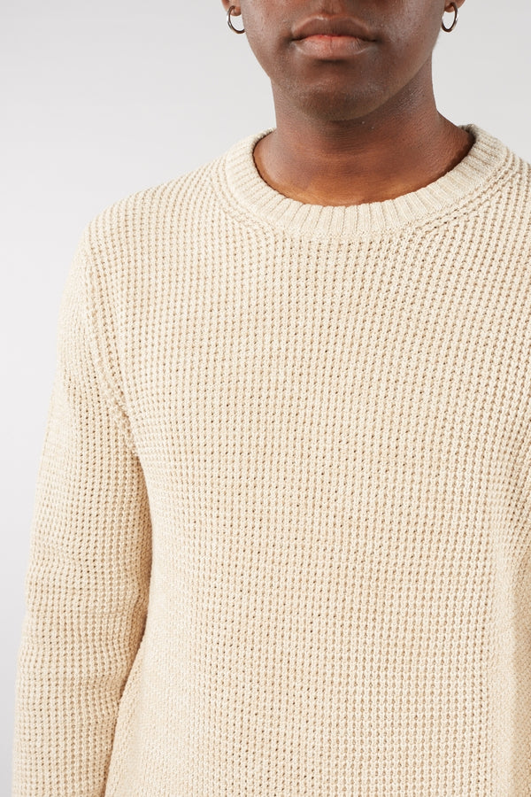SELECTED HOMME OYSTER GREY NED CREW NECK WAFFLE JUMPER