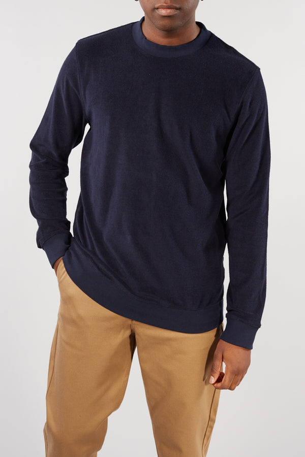 SELECTED HOMME NAVY TOWELLING CLEVE CREW NECK SWEATER