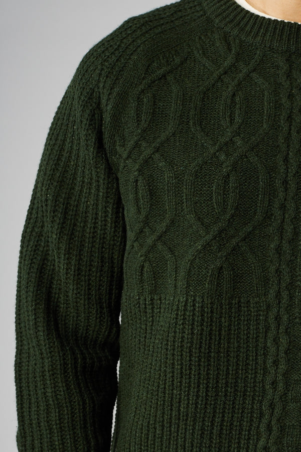 SAMSOE O SAMSOE GREEN CROSTOLO CREW NECK KNIT