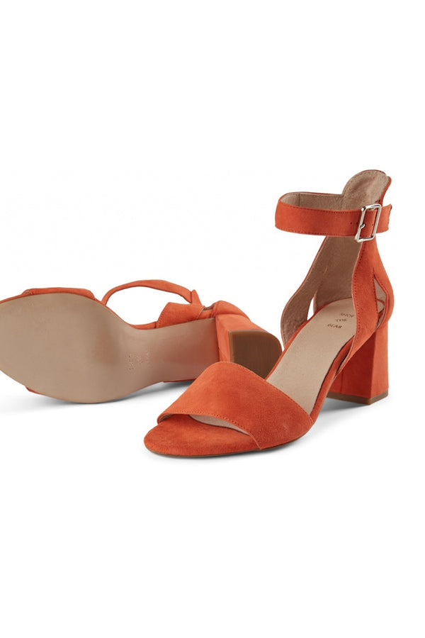 SHOE THE BEAR MAY CORAL RED HEELED SUEDE SANDAL