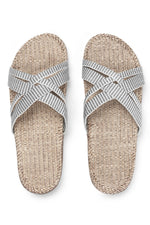 SHANGIES WHITE STRIPE SANDALS