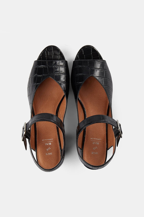 Shoe The Bear Black Croco Pennie Sandals