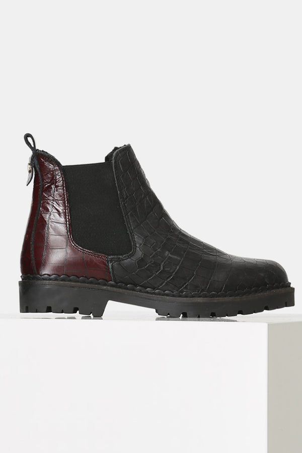 SHOE THE BEAR BLACK MIX CROC HAILEY CHELSEA BOOT