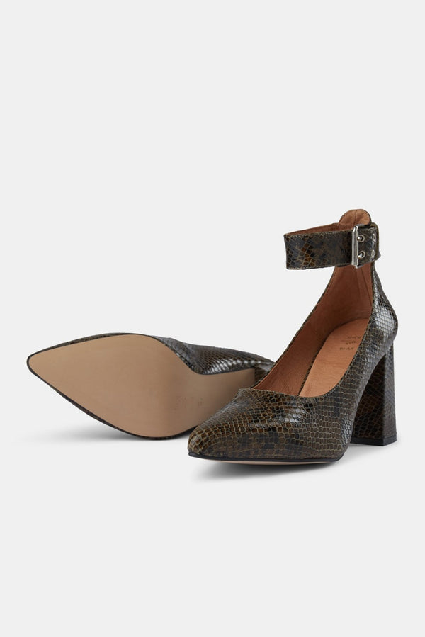 Green Snake Jane Ankle Heels