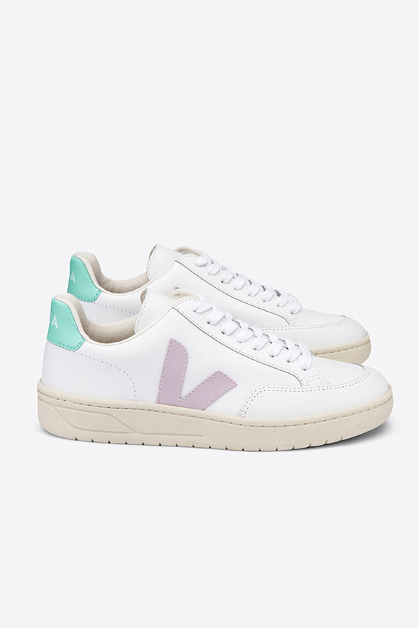 VEJA V-12 WHITE PARME TURQUOISE LEATHER TRAINER WOMENS
