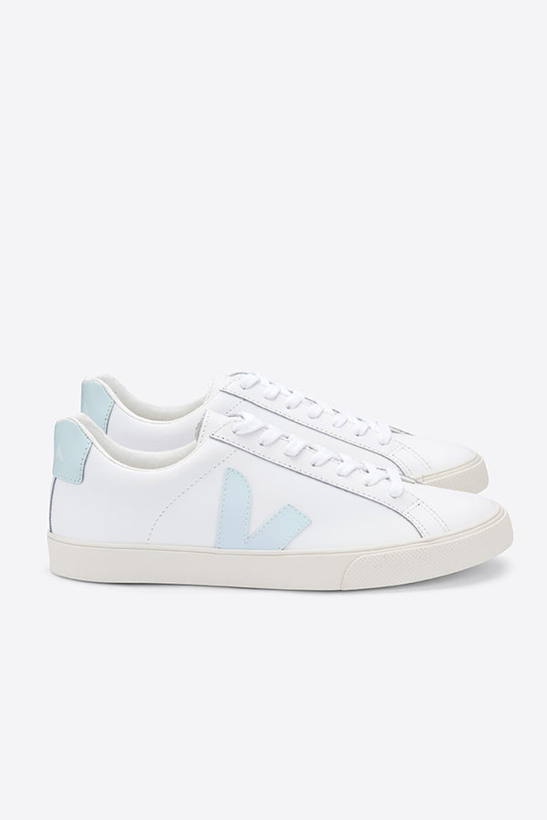 VEJA ESPLAR WHITE MENTHOL LEATHER LOGO TRAINER WOMENS
