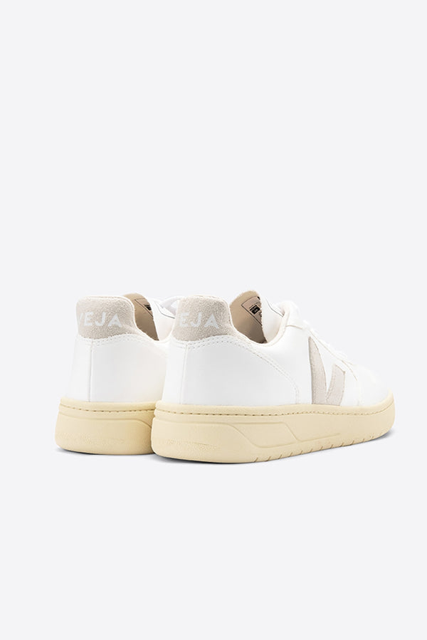 VEJA V-10 WHITE NATURAL BUTTERSCOTCH FAUX LEATHER TRAINERS WOMENS
