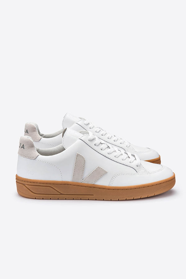 Veja White Natural Leather V-12 Trainers