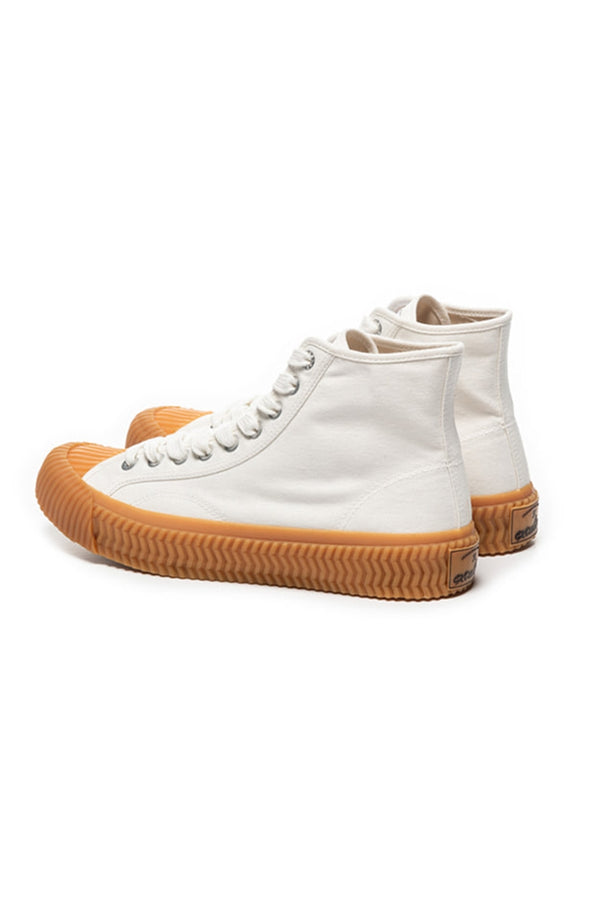 EXCELSIOR STEAM WHITE GUM SOLE BOLT HI CANVAS TRAINERS