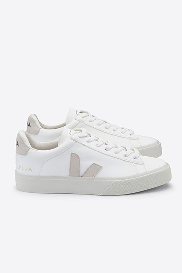 VEJA CAMPO WHITE CHROMEFREE LEATHER TRAINERS WOMENS