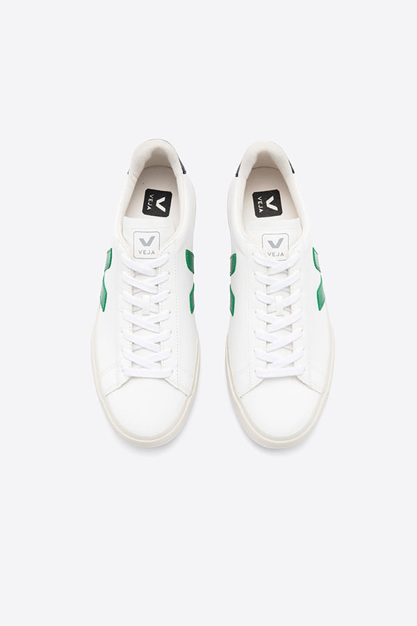 VEJA CAMPO WHITE EMERAUDE BLACK CHROMEFREE LEATHER TRAINERS MENS