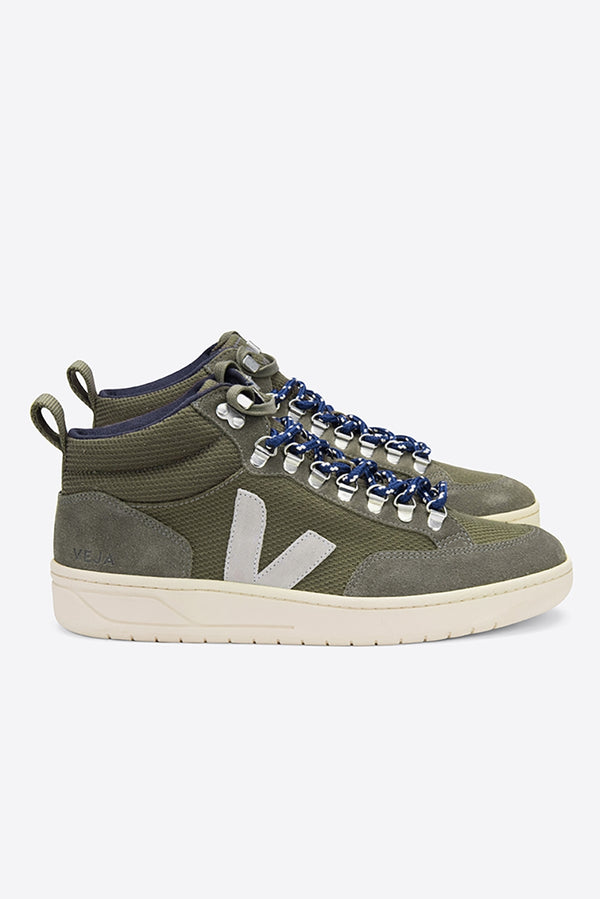 VEJA RORAIMA OLIVE OXFORD GREY B-MESH LEATHER TRAINERS MENS