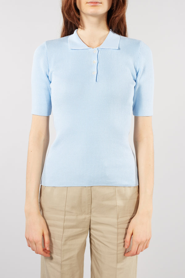 Sky Blue Kolo Rib Polo Top