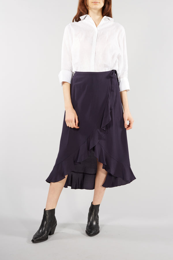 Navy Limonn Wrap Midi Skirt
