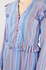 LIBERTINE LIBERTINE SKY BLUE MULTI STRIPED PEARL DRESS