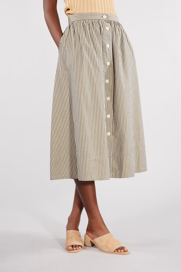 KINGS OF INDIGO STRIPE KHAKI MELANGE BENTEN SKIRT