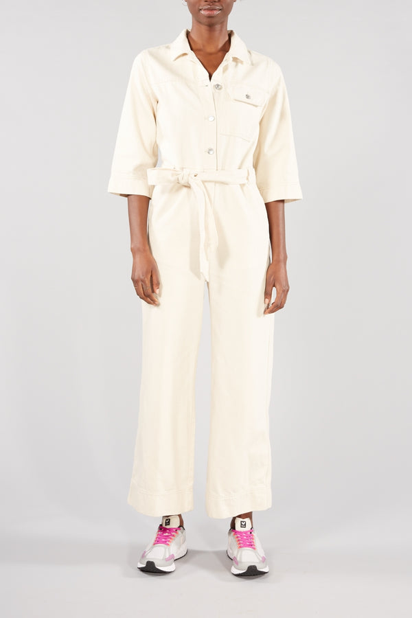 SELECTED FEMME WHITE ECRU DENIM HELENA JUMPSUIT