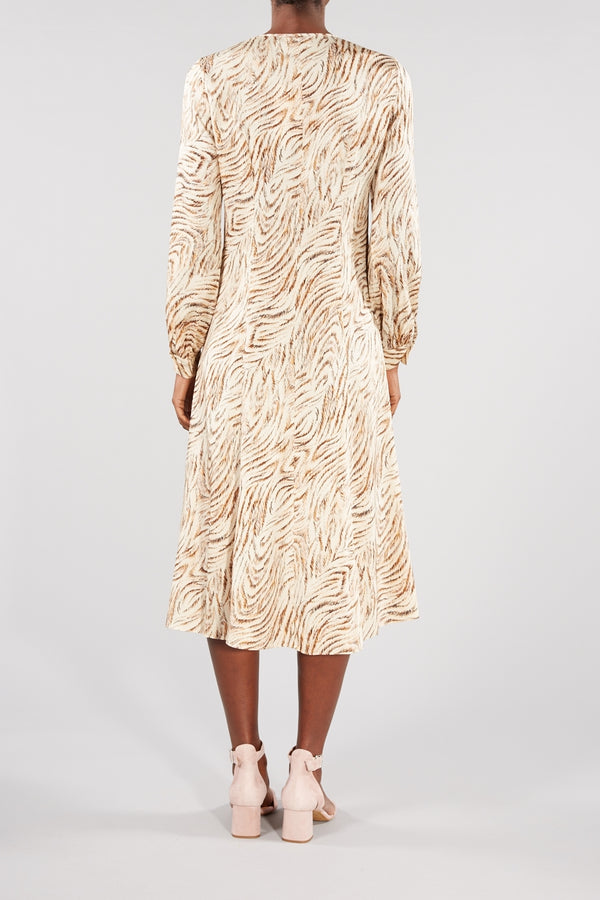 LEVETE ROOM BEIGE BROWN PRINTED ISOLA MIDI DRESS