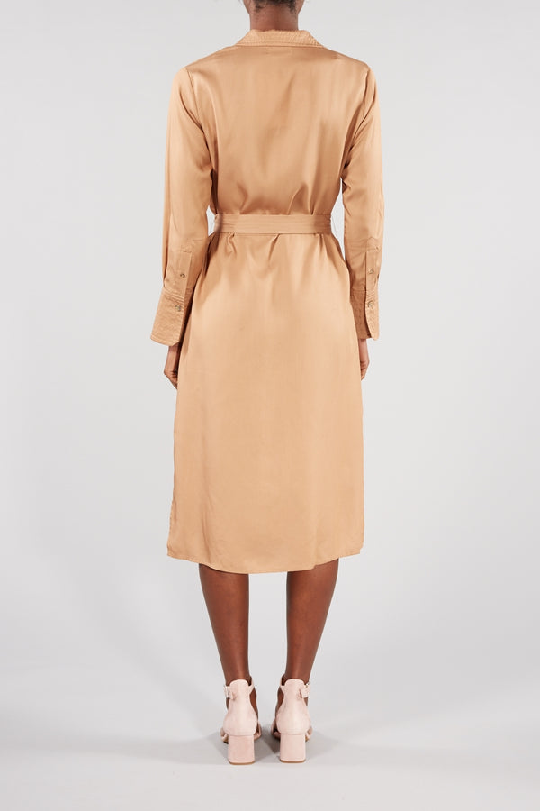 LEVETE ROOM CARAMEL ISADORA SHIRT DRESS