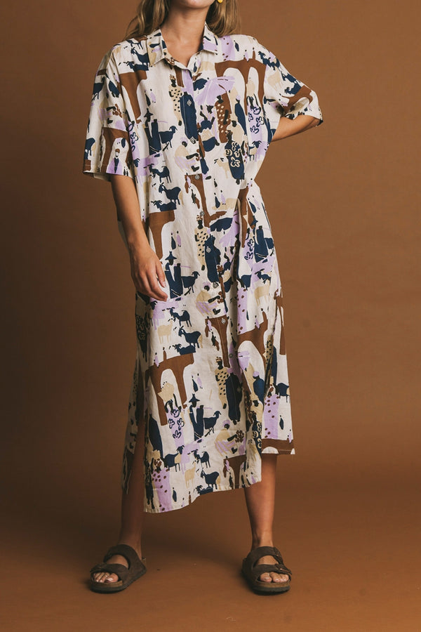 THINKING MU PRISTINE PRINT MARKET MANDY DRESS