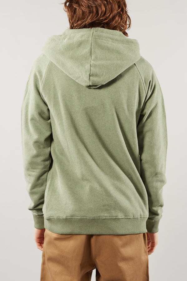 KNOWLEDGE COTTON APPAREL ELM GREEN MELANGE SMALL OWL HOODIE
